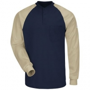 Long Sleeve Color-Block Tagless Henley Shirt - EXCEL FR